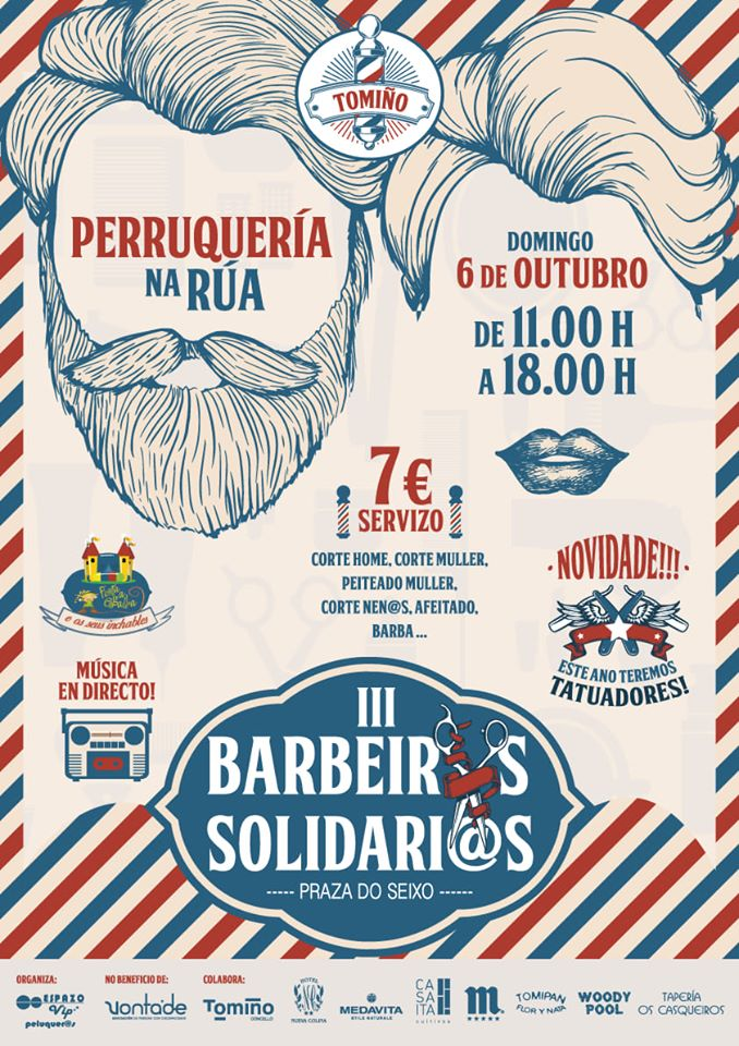 Os 'Barbeiros Solidarios' voltan a Tomiño con 30 profesionais da perruquería e barbería, tatuaxes e música en directo