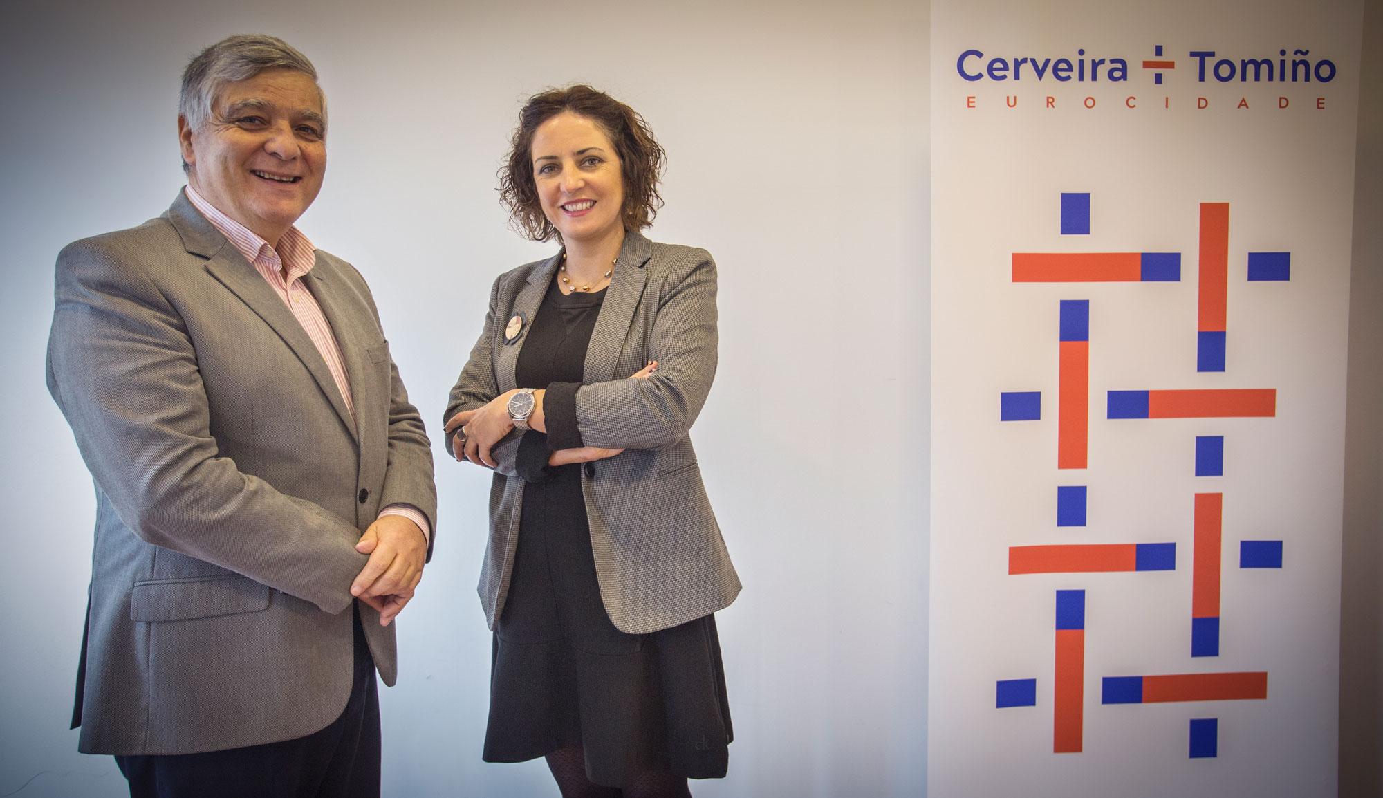 O presidente de Cerveira, Fernando Nogueira, e a alcaldesa de Tomiño, Sandra González, satisfeitos polo premio do OIDP ás Valedoras da Eurocidade