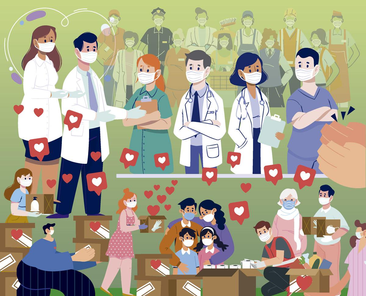 A homenaxe aos heroes e heroínas da crise sanitaria pecha O Alivio 2020
